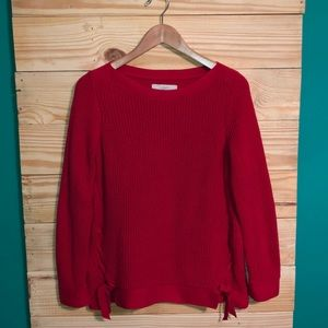 Loft Bright Red Knitted Chunky Lace Front Sweater